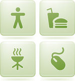 Icone del quadrato del Olivine 2D impostate Immagini Stock Libere da Diritti