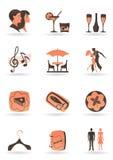 Icone del randello e del ristorante royalty illustrazione gratis