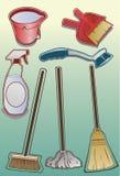 Icone del rifornimento di pulizia Immagini Stock