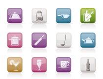 Icone del ristorante, del caffè, dell'alimento e della bevanda illustrazione vettoriale