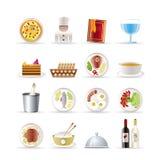 Icone del ristorante, dell'alimento e della bevanda Fotografie Stock