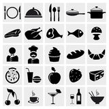 Icone del ristorante e dell'alimento impostate Fotografia Stock