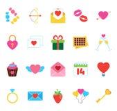 Icone del ` s del biglietto di S. Valentino messe Oggetti degli autoadesivi di amore Illustrazione di Stock