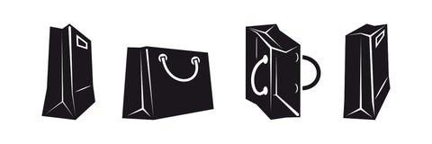 Icone del sacchetto della spesa Fotografia Stock Libera da Diritti
