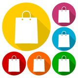 Icone del sacchetto della spesa messe con ombra lunga illustrazione vettoriale