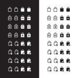 Icone del sacchetto della spesa su fondo in bianco e nero Illustrazione di vettore Immagini Stock