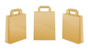 Icone del sacco di carta del Brown Fotografia Stock