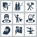 Icone del saldatore e del fabbro di vettore messe illustrazione di stock