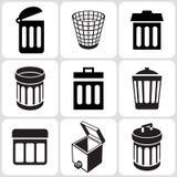Icone del secchio dei rifiuti messe Immagine Stock Libera da Diritti