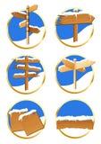 Icone del segnale di direzione di inverno illustrazione di stock