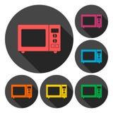 Icone del segno del forno a microonde messe con ombra lunga Fotografia Stock Libera da Diritti