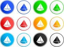 Icone del segno della barca illustrazione di stock