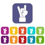 Icone del segno della mano di rock-and-roll messe Immagini Stock