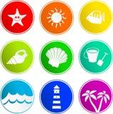 Icone del segno della spiaggia Fotografia Stock