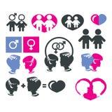 Icone del segno delle donne e degli uomini Fotografie Stock