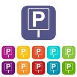 Icone del segno di parcheggio messe Immagini Stock Libere da Diritti