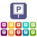 Icone del segno di parcheggio messe Fotografie Stock