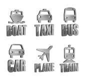 Icone del segno di trasporto 3d Fotografia Stock Libera da Diritti