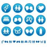 Icone del sesso e di amore Immagini Stock Libere da Diritti