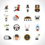 Icone del sistema di sicurezza dell'automobile Fotografie Stock Libere da Diritti