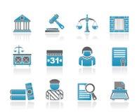 Icone del sistema giudiziario e della giustizia Immagini Stock Libere da Diritti