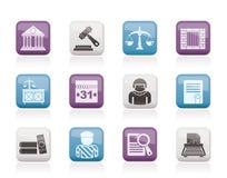 Icone del sistema giudiziario e della giustizia Fotografia Stock