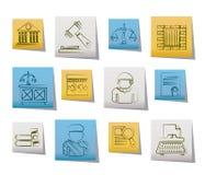 Icone del sistema giudiziario e della giustizia Fotografie Stock Libere da Diritti