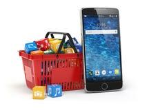 Icone del software applicativo del telefono cellulare nel cestino della spesa royalty illustrazione gratis