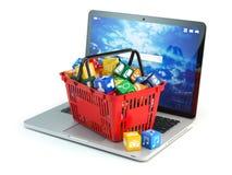 Icone del software di applicazione informatica di computer portatile nel baske di acquisto illustrazione di stock