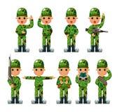 Icone del soldato del fumetto impostate Fotografia Stock Libera da Diritti