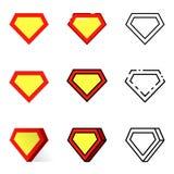 Icone del supereroe messe Fotografia Stock Libera da Diritti