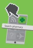 Icone del telefono cellulare di tecnologia con l'illustrazione dell'incrocio della farmacia fotografia stock