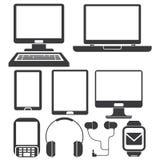 Icone del telefono e del computer Immagine Stock