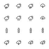 Icone del tempo del profilo isolate su fondo bianco Illustrazione di vettore Fotografia Stock