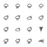 Icone del tempo del profilo isolate su fondo bianco Illustrazione di vettore Immagini Stock Libere da Diritti
