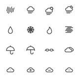 Icone del tempo del profilo isolate su fondo bianco Illustrazione di vettore Fotografie Stock Libere da Diritti