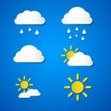 Icone del tempo di vettore. Nuvole, Sun, pioggia Immagine Stock Libera da Diritti