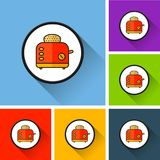Icone del tostapane con ombra lunga Immagine Stock Libera da Diritti