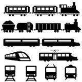 Icone del trasporto della ferrovia e del treno illustrazione vettoriale