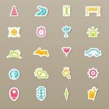Icone del trasporto ed icone della mappa illustrazione di stock