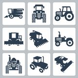 Icone del trattore di vettore e della mietitrebbiatrice Immagine Stock Libera da Diritti