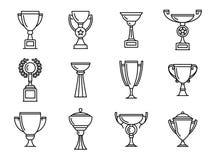 Icone del trofeo Tazza del vincitore illustrazione vettoriale
