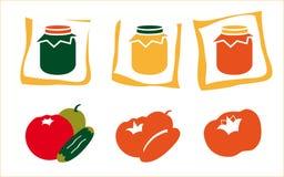 Icone del vaso e della frutta Fotografie Stock