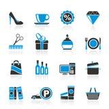 Icone del viale e di acquisto Fotografia Stock