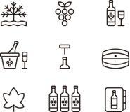 Icone del vino Fotografia Stock Libera da Diritti