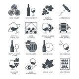 Icone del vino messe isolate su fondo bianco Fotografie Stock Libere da Diritti