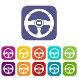 Icone del volante dell'automobile messe illustrazione di stock