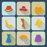 Icone dell'abbigliamento della donna messe Fotografia Stock