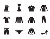 Icone dell'abbigliamento della siluetta Immagini Stock