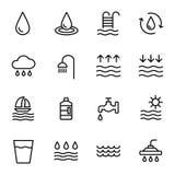 Icone dell'acqua di vettore messe su fondo bianco Fotografie Stock Libere da Diritti